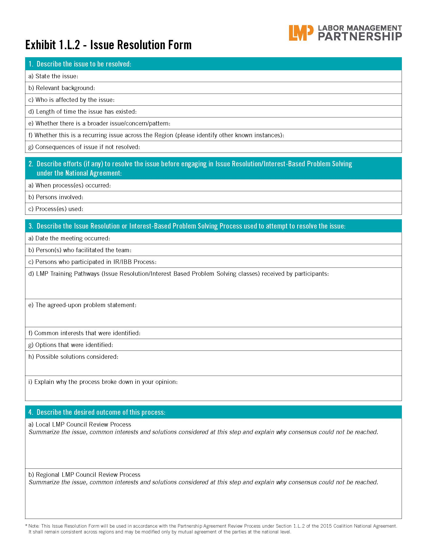 Issue resolution form